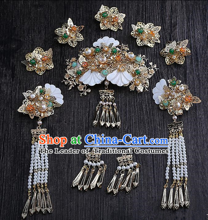Top Grade Chinese Handmade Wedding Hair Accessories Head Ornament Complete Set, Traditional China Xiuhe Suit Bride Tassel Step Shake Headdress for Women