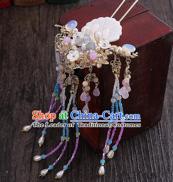 Top Grade Chinese Handmade Wedding Hair Accessories Hairpins, Traditional China Xiuhe Suit Bride Tassel Step Shake Headdress for Women