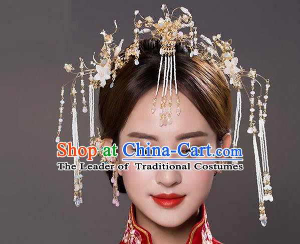 Top Grade Chinese Handmade Wedding Hair Accessories Frontlet Complete Set, Traditional China Xiuhe Suit Bride Hairpins Hanfu Tassel Headdress for Women