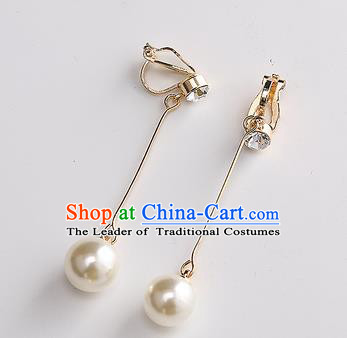 Top Grade Handmade China Wedding Bride Accessories Crystal Earrings, Traditional Princess Wedding Pearl Eardrop Jewelry for Women