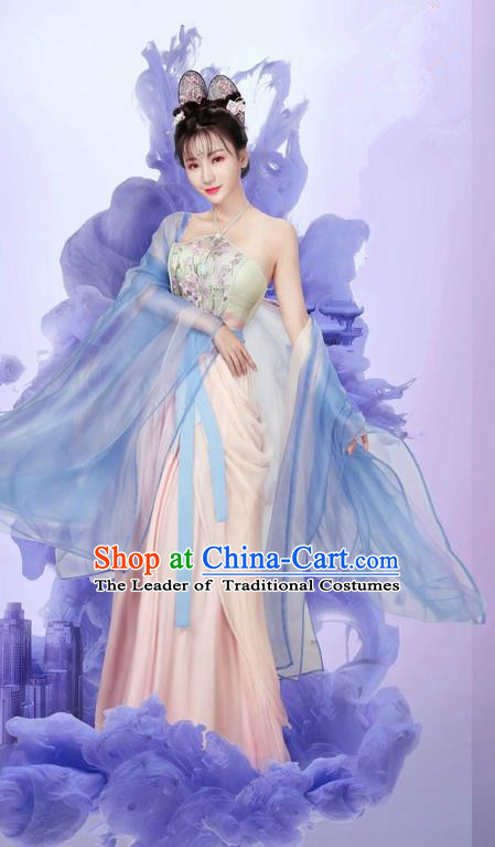 Traditional Ancient Chinese Imperial Princess Dance Costume and Headpiece Complete Set, Chinese Ming Dynasty Peri Embroidered Clothing for Women