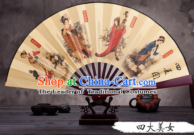 Traditional Chinese Ancient Peking Opera Accessories Scholar Ink Painting Four Great Beauties Fan, Traditional Chinese Beijing Opera Young Men Props Folding Fans