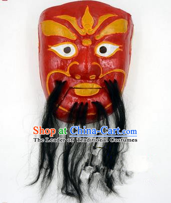 Traditional Chinese Ancient Peking Opera Accessories Mask, Traditional Chinese Beijing Opera God of Wealth Red Masks