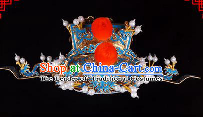 Traditional Chinese Ancient Peking Opera Accessories Prime Minister Hat, Traditional Chinese Beijing Opera Grand Councilor Headwear Helmet Crown