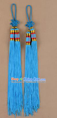 Traditional Chinese Ancient Peking Opera Taiji Sword Tassel, Traditional Chinese Beijing Opera Blue Long Tassel Straightsword Hat Tassels
