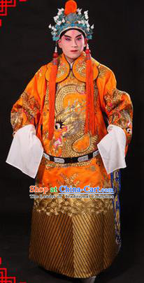 Traditional Chinese Beijing Opera Emperor Clothing and Headwear Complete Set, China Peking Opera His Royal Highness Embroidered Dragon Robe Yellow Opera Costumes