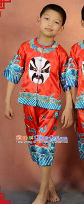 Traditional Chinese Beijing Opera Children Clothing, China Peking Opera Facial Makeup Costumes for Kids