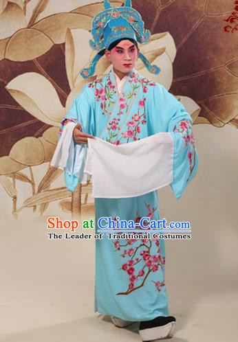 Traditional Chinese Beijing Opera Niche Blue Dress Clothing and Boots Complete Set, China Peking Opera Young Men Costume Embroidered Wintersweet Robe Opera Costumes