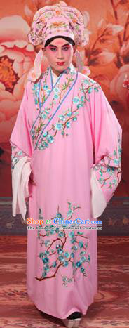 Traditional Chinese Beijing Opera Niche Pink Dress Clothing and Boots Complete Set, China Peking Opera Young Men Costume Embroidered Wintersweet Robe Opera Costumes
