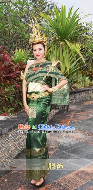 Traditional Traditional Thailand Princess Clothing, Southeast Asia Thai Ancient Costumes Dai Nationality Wedding Green Sari Dress for Women