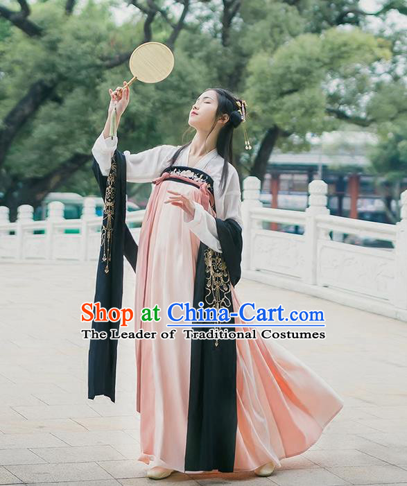 Traditional Chinese Tang Dynasty Young Lady Costume, Elegant Hanfu Clothing Blouse and Pink Ru Skirts, Chinese Ancient Princess Dress for Women