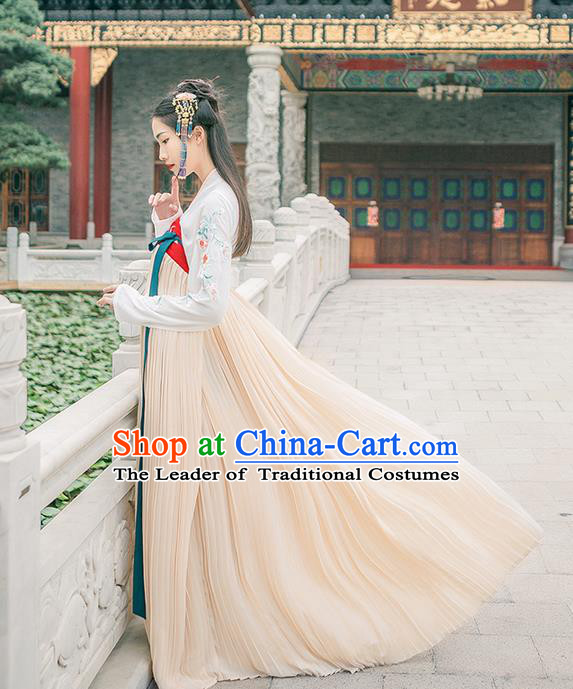 Traditional Chinese Tang Dynasty Palace Princess Costume Complete Set, Elegant Hanfu Clothing Embroidered Dress, Chinese Ancient Princess Clothing for Women
