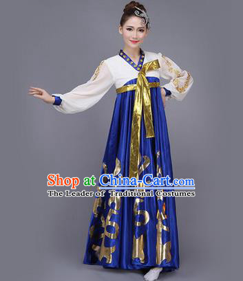 Traditional Korean Nationality Dance Costume, Chinese Minority Nationality Embroidery Hanbok Blue Big Swing Dress for Women