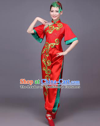 Traditional Chinese Yangge Fan Dancing Costume, Folk Dance Yangko Uniform Drum Dance Red Clothing for Women
