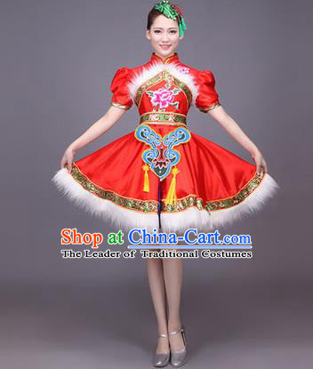 Traditional Chinese Yangge Fan Dancing Costume, Folk Dance Yangko Uniform Drum Dance Red Dress for Women