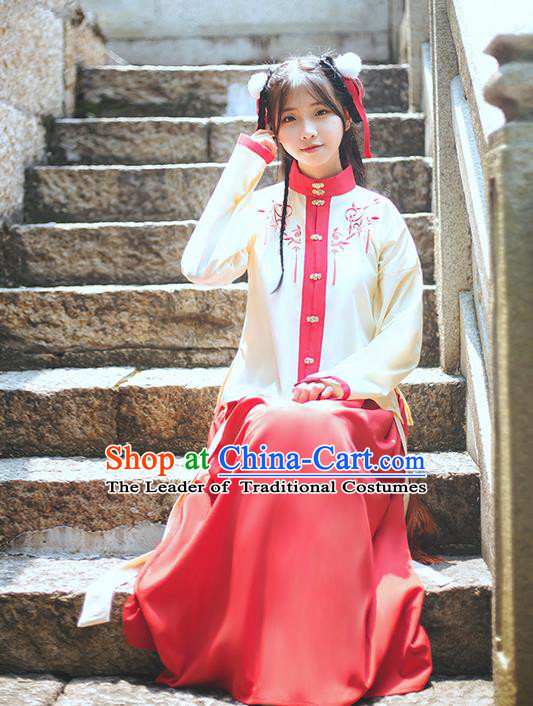 Traditional Chinese Ming Dynasty Young Lady Costume, Elegant Hanfu Clothing Embroidered Blouse and Skirt, Chinese Ancient Princess Clothing for Women