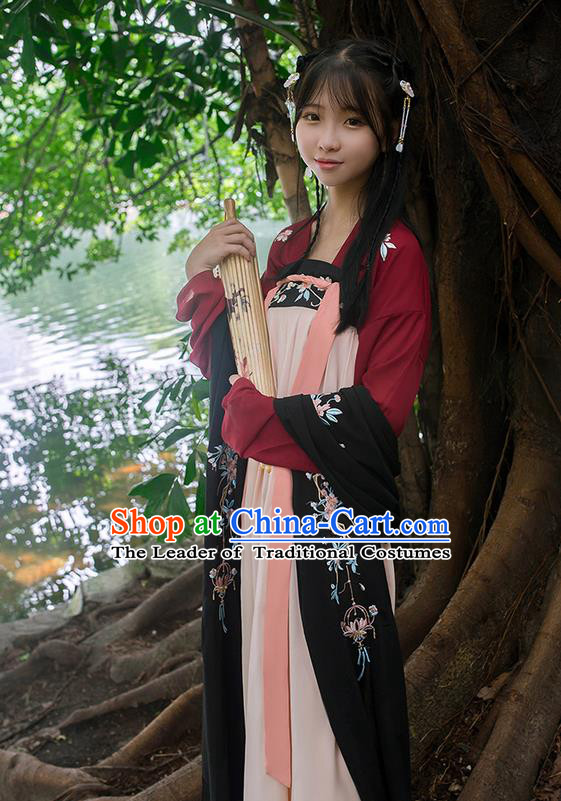 Traditional Chinese Tang Dynasty Palace Princess Embroidered Flowers Hanfu Black Wide Wearing Silks for Women