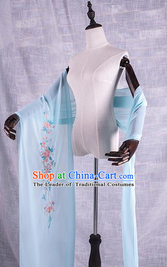 Traditional Chinese Tang Dynasty Palace Princess Embroidered Flowers Hanfu Blue Wide Wearing Silks for Women