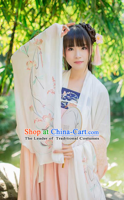Traditional Chinese Tang Dynasty Palace Princess Costume, Elegant Hanfu Clothing Embroidered Chiffon White Wide Sleeve Cardigan, Chinese Ancient Princess Clothing for Women