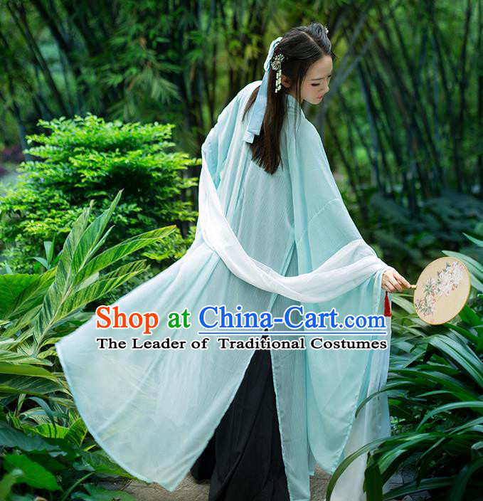Traditional Chinese Tang Dynasty Palace Princess Costume, Elegant Hanfu Clothing Chiffon Green Wide Sleeve Cardigan, Chinese Ancient Princess Clothing for Women