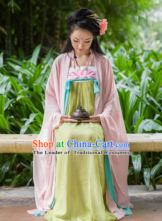 Traditional Chinese Tang Dynasty Palace Princess Costume, Elegant Hanfu Clothing Chiffon Pink Wide Sleeve Cardigan, Chinese Ancient Princess Clothing for Women