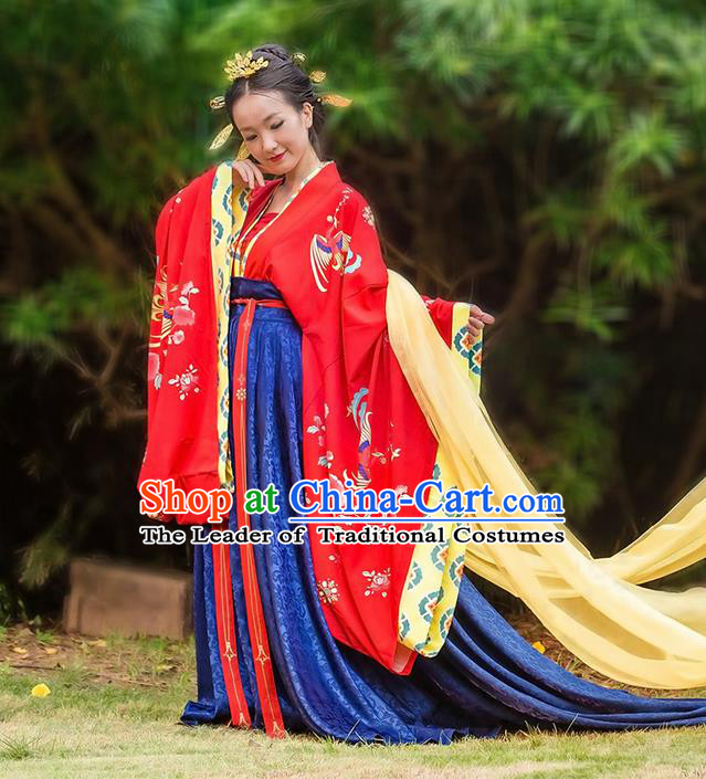 Traditional Chinese Tang Dynasty Palace Empress Wedding Costume Complete Set, Elegant Hanfu Clothing Bride Embroidered Dress, Chinese Ancient Imperial Consort Clothing for Women