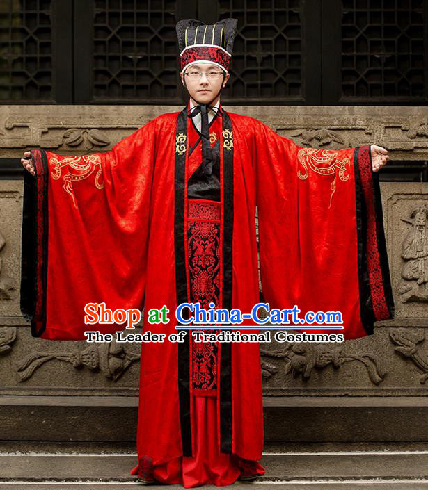 Traditional Chinese Han Dynasty Minister Costume, Elegant Hanfu Clothing Wedding Bridegroom Robes Chinese Ancient Gwanbok for Men