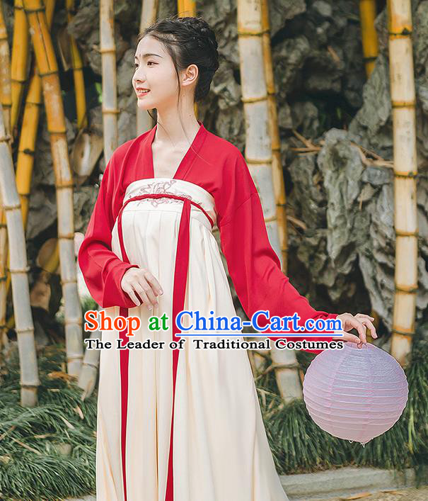 Traditional Chinese Tang Dynasty Palace Princess Costume, Elegant Hanfu Clothing Embroidered Red Ru Dress, Chinese Ancient Princess Clothing for Women