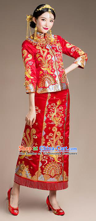 Traditional Chinese Wedding Costume Xiuhe Suits Wedding Bride Slim Dress, Ancient Chinese Toast Dress Embroidered Dragon and Phoenix Clothing Longfeng Flown for Women