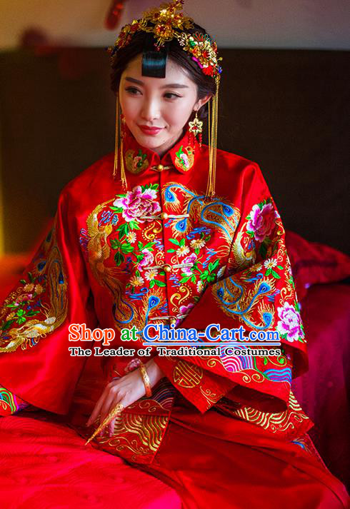 Traditional Chinese Wedding Costume Xiuhe Suits Wedding Red Suit, Ancient Chinese Bride Toast Dress Hand Embroidered Peony Phoenix Clothing Longfeng Flown for Women