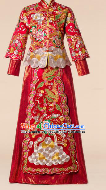 Traditional Chinese Wedding Costume Xiuhe Wedding Clothing Longfeng Flown, Ancient Chinese Bride Toast Hand Embroidered Dragon and Phoenix Cheongsam Full Dress for Women