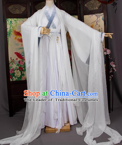 Traditional Chinese Han Dynasty Palace Lady Costume, Elegant Hanfu Cosplay Imperial Princess Clothing Ancient Chinese White Dress for Women