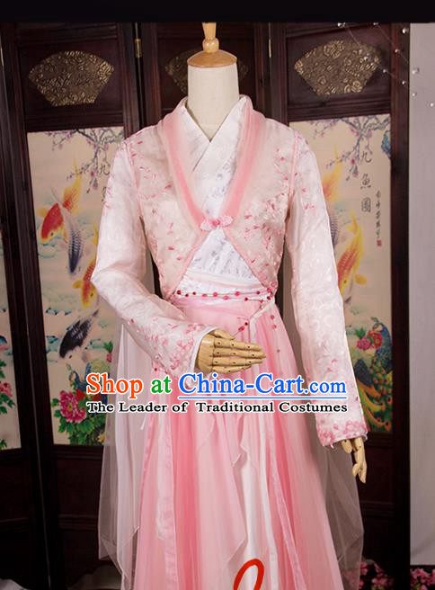 Traditional Chinese Song Dynasty Swordswoman Costume, Elegant Hanfu Cosplay Peri Clothing Ancient Chinese Princess Dance Dress for Women