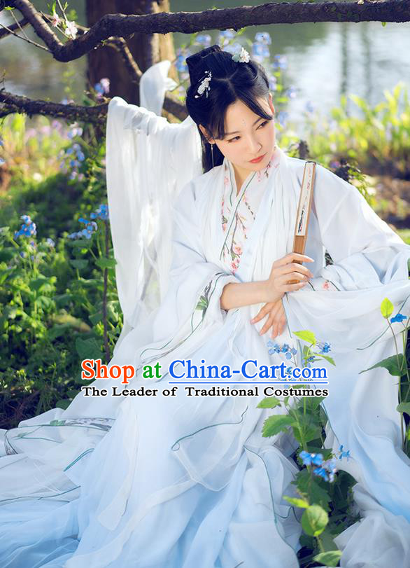 Traditional Chinese Han Dynasty Swordswoman Costume, Elegant Hanfu Cosplay Peri Clothing Ancient Chinese Princess Embroidered Peach Blossom Dance Dress for Women