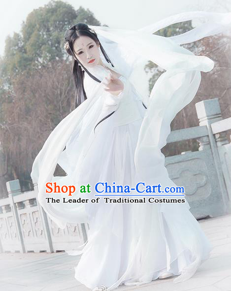 Traditional Chinese Han Dynasty Swordswoman Costume, Elegant Hanfu Cosplay Peri Clothing Ancient Chinese Little Dragon Maiden Dance Dress for Women