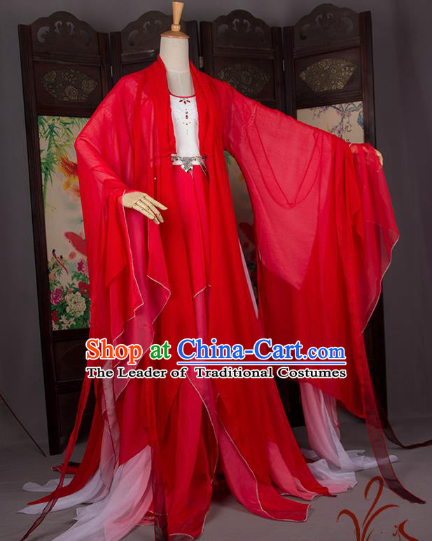 Traditional Chinese Han Dynasty Palace Princess Costume, Elegant Hanfu Cosplay Peri Clothing Ancient Chinese Imperial Consort Dance Dress for Women