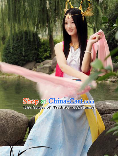 Traditional Chinese Cosplay Imperial Consort Diau Charn Costume, Chinese Ancient Hanfu Han Dynasty Imperial Princess Dance Dress Clothing for Women