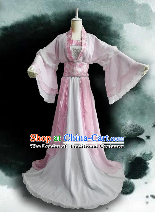 Traditional Chinese Cosplay Nobility Lady Costume, Chinese Ancient Hanfu Tang Dynasty Imperial Princess Pink Dress Clothing for Women