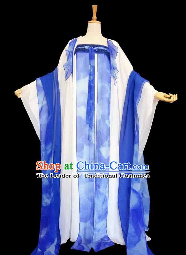 Traditional Chinese Cosplay Imperial Consort Costume, Chinese Ancient Printing Hanfu Tang Dynasty Princess Blue Dress Clothing for Women