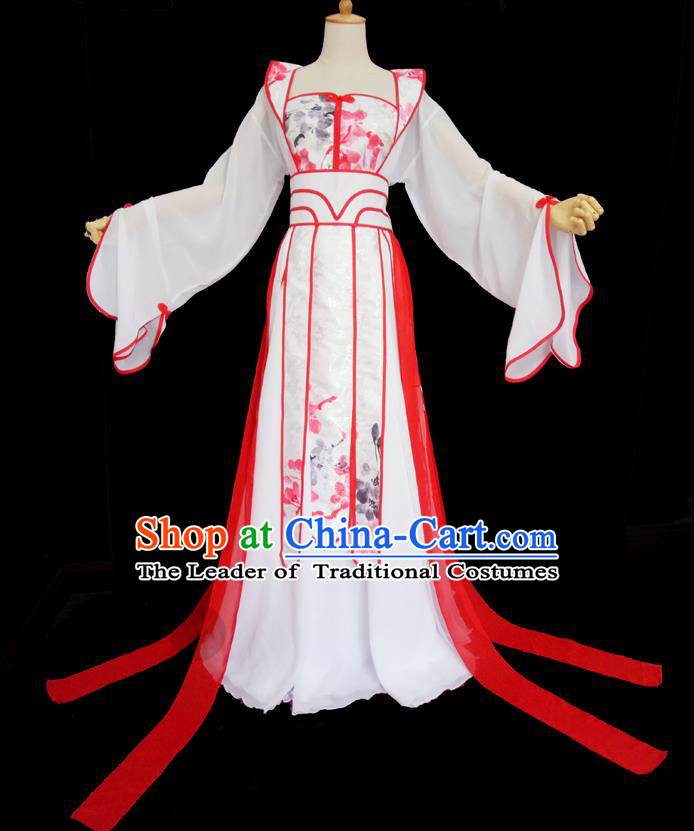 Traditional Chinese Cosplay Imperial Consort Fairy Costume, Chinese Ancient Ink Painting Plum Blossom Hanfu Tang Dynasty Princess Dress Clothing for Women