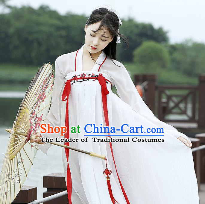 Traditional Chinese Han Dynasty Imperial Princess Costume, Elegant Hanfu Clothing Blouse and Skirts, Chinese Ancient Young Lady Embroidered Wintersweet Dress for Women