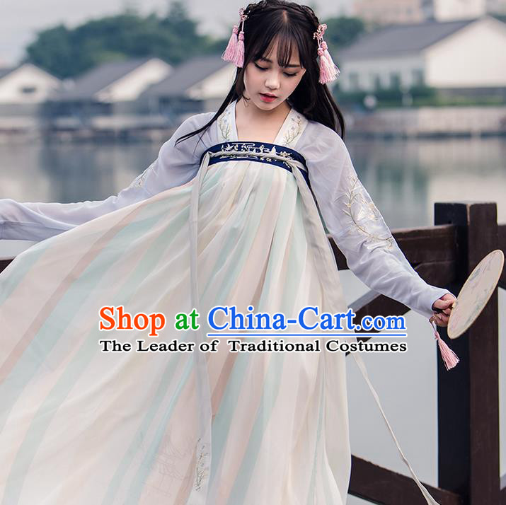 Traditional Chinese Tang Dynasty Young Lady Costume, Elegant Hanfu Clothing Blouse and Skirt, Chinese Ancient Imperial Princess Embroidered Slip Dress for Women