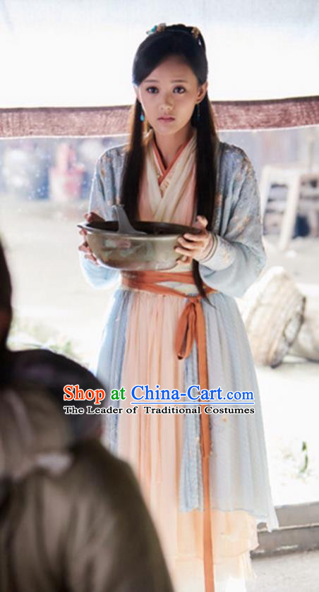 Traditional Ancient Chinese Swordswoman Costume and Headwear Complete Set, The Legend of the Condor Heroes Chinese Song Dynasty Heroine Huang Rong Hanfu Clothing for Women