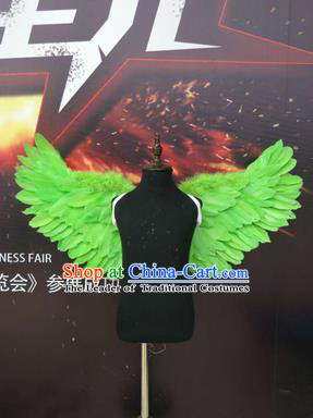 Top Grade Compere Professional Performance Catwalks Halloween Green Feather Wings, Traditional Brazilian Rio Carnival Dance Fancywork Clothing for Kids