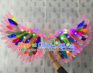 Top Grade Compere Professional Performance Catwalks Halloween Colorful Feather Wings, Traditional Brazilian Rio Carnival Dance Fancywork Led Light Clothing for Kids