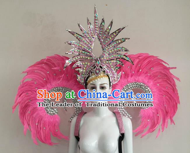 Top Grade Compere Professional Performance Catwalks Pink Feather Wings and Headpiece, Traditional Brazilian Rio Carnival Samba Opening Dance Suits Modern Fancywork Swimsuit Clothing for Women