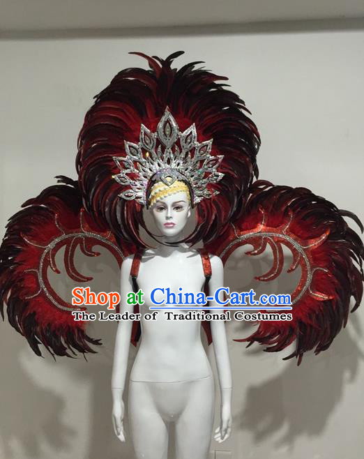 Top Grade Compere Professional Performance Catwalks Red Feather Wings Costume and Big Hair Accessories, Traditional Brazilian Rio Carnival Samba Opening Dance Suits Modern Fancywork Clothing for Women