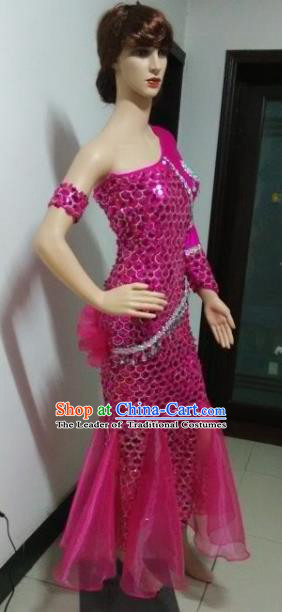 Top Grade Professional Performance Catwalks Costumes, Stage Show Brazil Carnival Samba Dance Rosy Clothing for Women