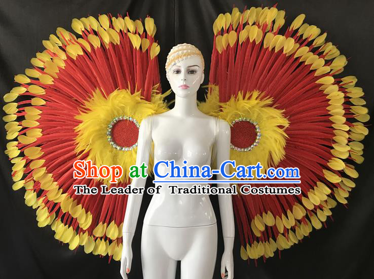 Top Grade Professional Stage Show Catwalks Red Feather Wings, Brazilian Rio Carnival Samba Opening Dance Custom-made Customized Props Clothing for Women