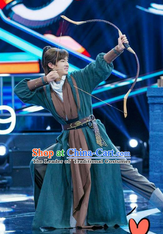 Traditional Ancient Chinese Young Hero Costume, The Legend of the Condor Heroes Chinese Song Dynasty Swordsman Clothing for Men